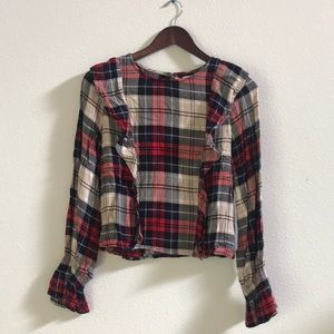 Kensie Plaid Ruffle Blouse - Small